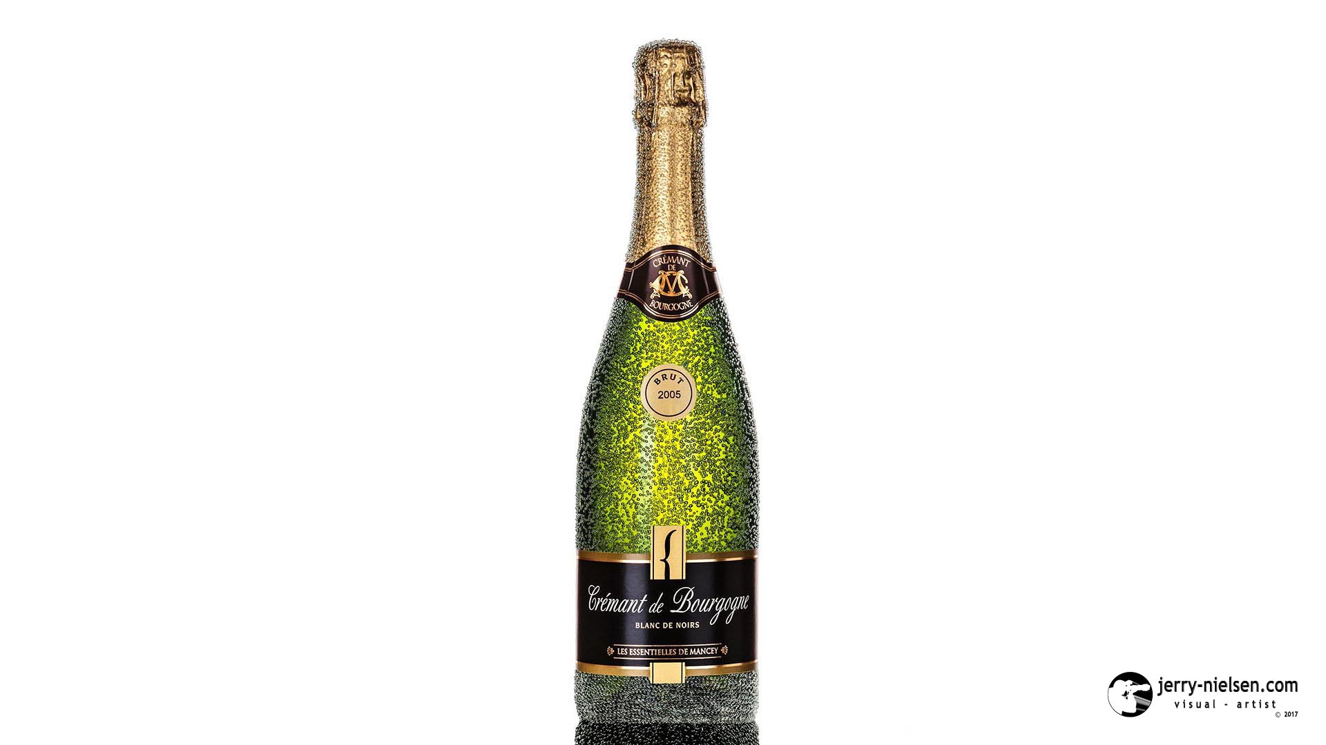 Cremant de Bourgogue Bottle, with Bubbles