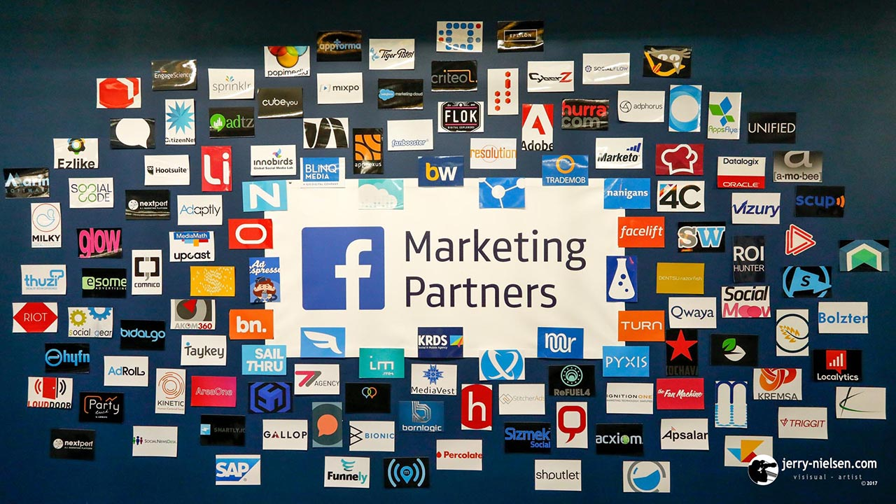 Facebook Partners board, with lots of well known firms names.