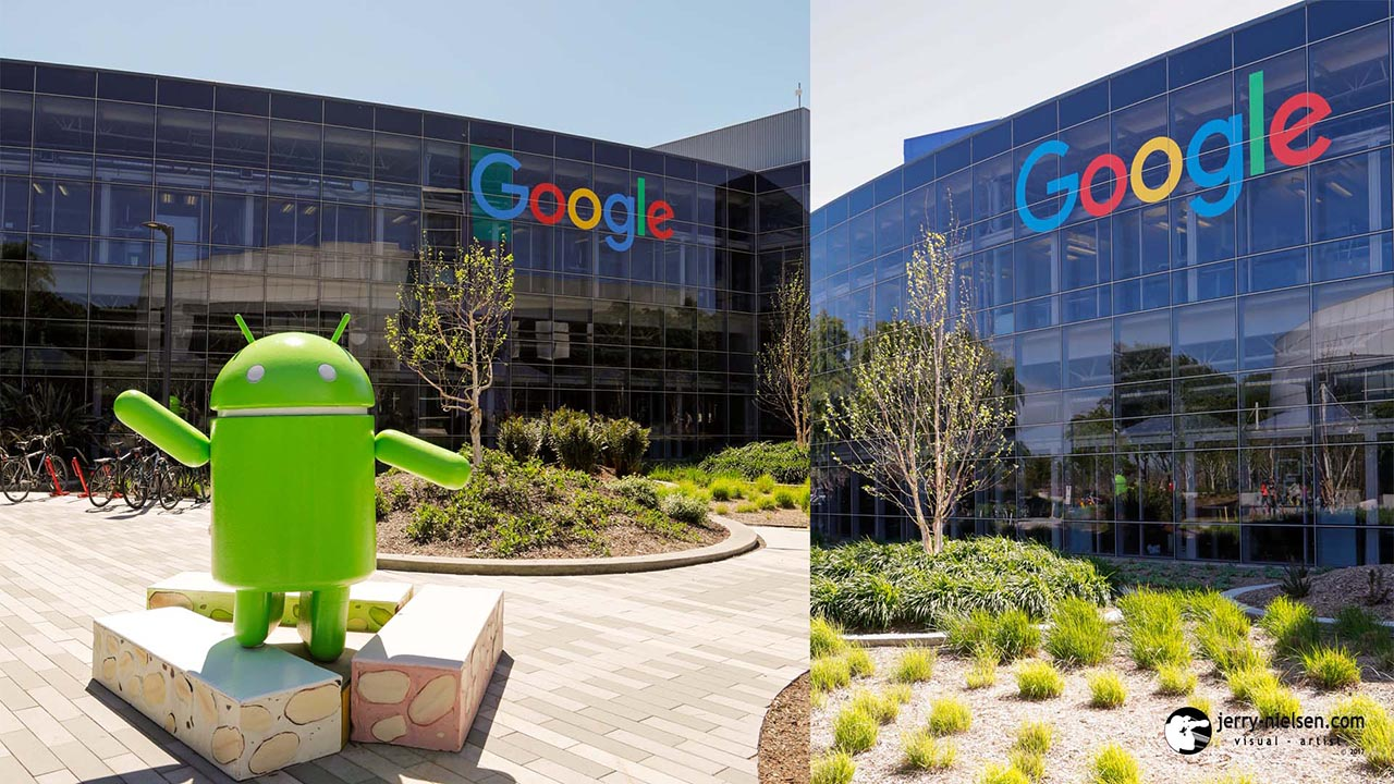 Google logo, and Android statue, on and in-front of buildings.
