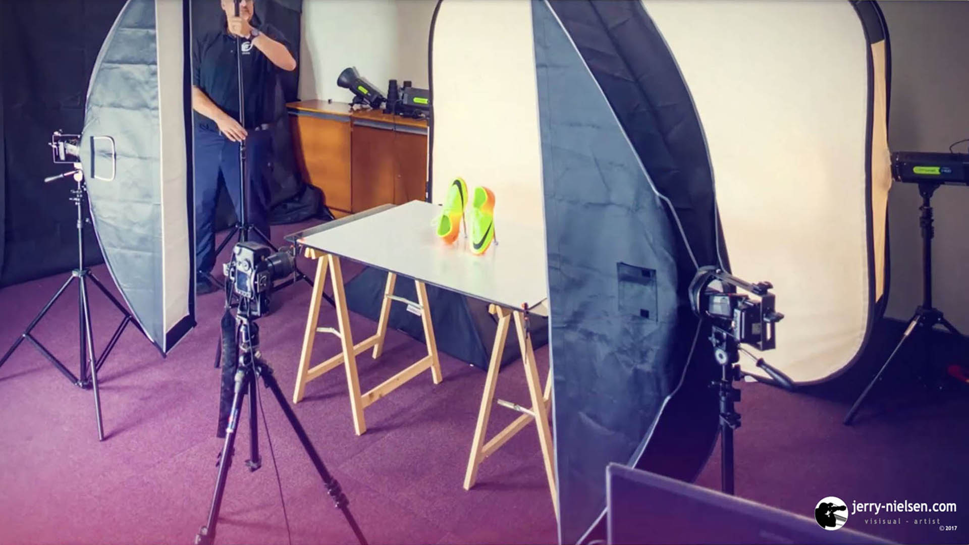 Time-lapse, of Jerry Nielsen at work. He is setting up the studio to take a product shot.