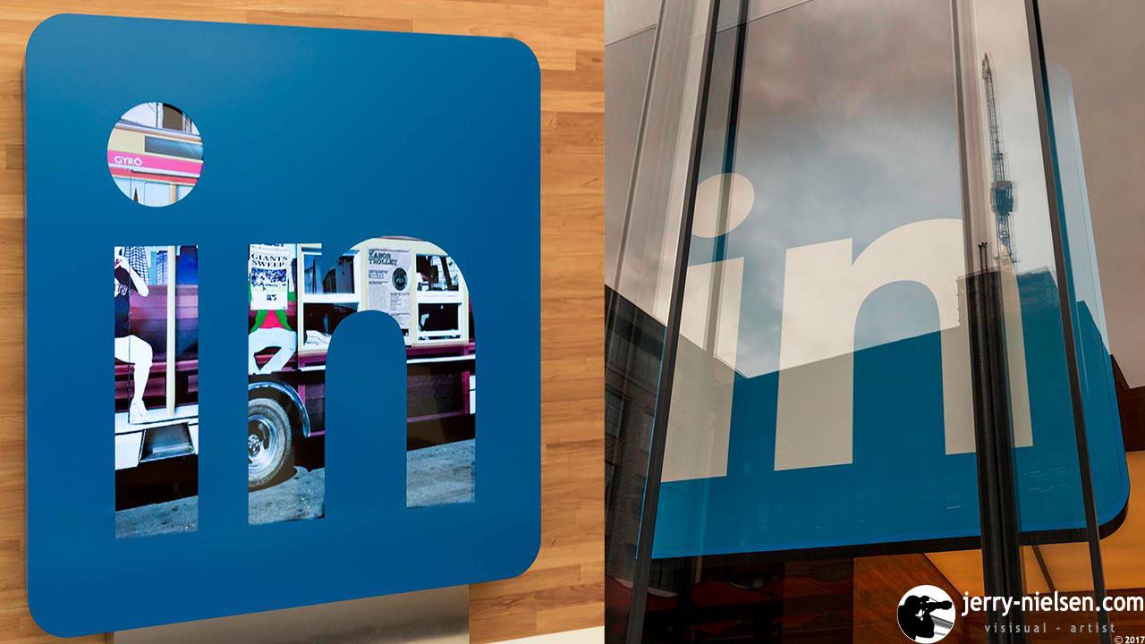 LinkedIn logos, shot from outside and inside LinkedIn`s lobby.