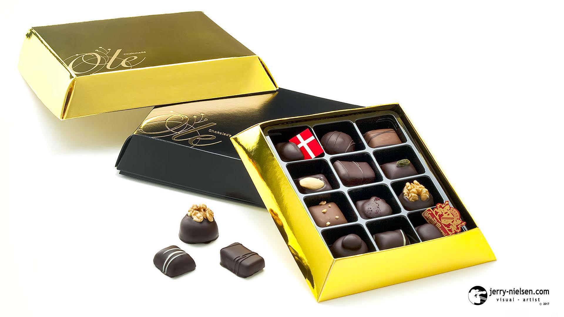 Ole Chokolade Black and Gold Chocolate Boxes.